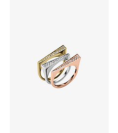 Pavé-Embellished Tri-Tone Triangle Ring