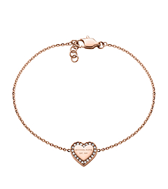 Pavé-Embellished Rose Gold-Tone Heart Charm Bracelet
