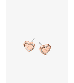 Pavé-Embellished Rose Gold-Tone Heart Charm Earrings