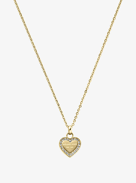 Pave Gold-Tone Heart Charm Necklace