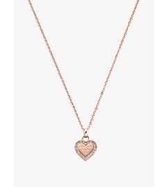 Pavé-Embellished Rose Gold-Tone Heart Charm Necklace