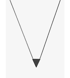 Pavé-Embellished Triangle Black-Pendant Necklace