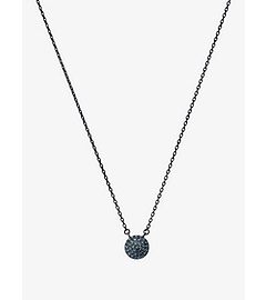 Pavé-Embellished Gunmetal-Tone Pendant Necklace