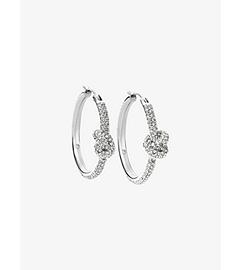 Pavé Silver-Tone Knot Hoop Earrings