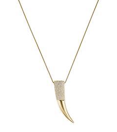 Pavé Gold-Tone Horn Pendant Necklace by Michael Kors