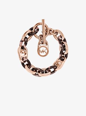Rose Gold-Tone and Acetate Chain-Link Bracelet by Michael Kors