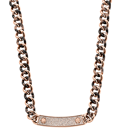 Pavé Stainless Steel and Tortoise Acetate Necklace by Michael Kors