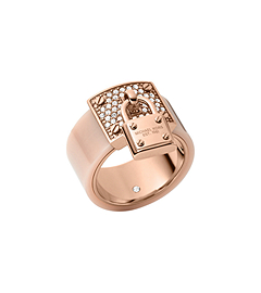 Pavé Rose Gold-Tone and Blush Acetate Ring by Michael Kors