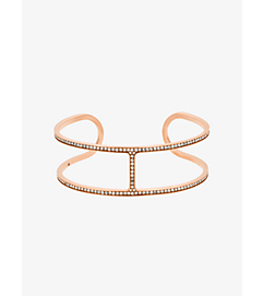 Pavé Rose Gold-Tone Geometric Cuff by Michael Kors