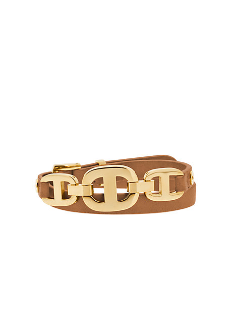 Maritime Gold-Tone And Leather Bracelet