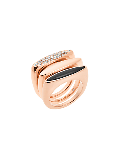 Rose-Gold Ring Stack by Michael Kors