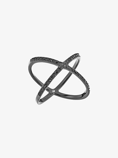 Black-Tone Pavé Ring by Michael Kors