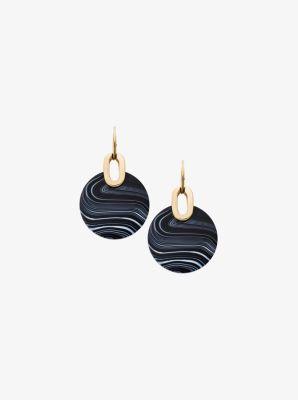 Gold-Tone Black Agate Disc Drop Earrings by Michael Kors