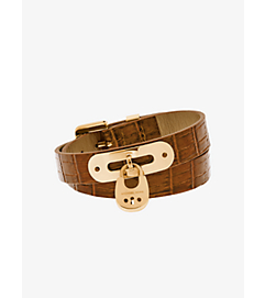 Embossed-Leather and Gold-Tone Wrap Bracelet by Michael Kors