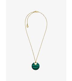 Gold-Tone Malachite Pendant Necklace by Michael Kors