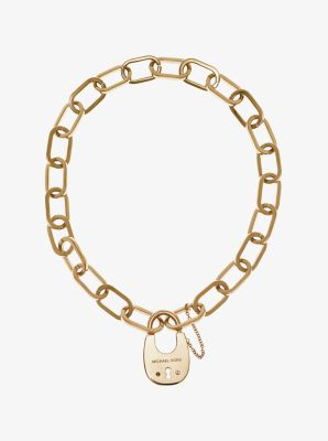 Gold-Tone Padlock Necklace by Michael Kors