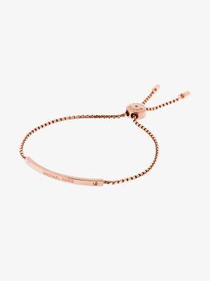 Logo Rose Gold-Tone Slider Bracelet by Michael Kors