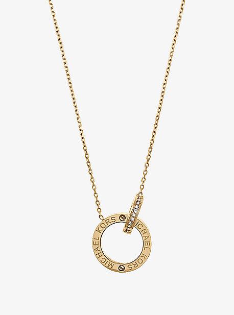 Gold-Tone Logo Circle Pendant Necklace