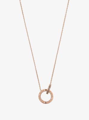 Rose Gold-Tone Logo Circle Pendant Necklace by Michael Kors