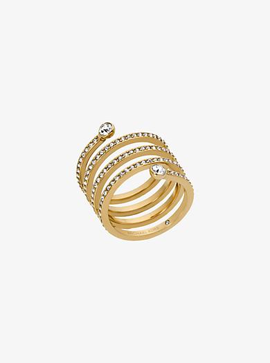 Pavé Gold-Tone Coil Ring by Michael Kors