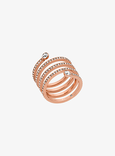 Pavé Rose Gold-Tone Coil Ring by Michael Kors