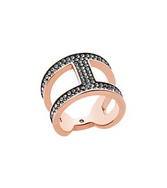 Pavé Rose Gold-Tone Maritime Link Ring by Michael Kors