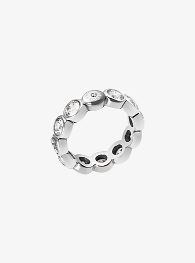 Cubic Zirconia Silver-Tone Circle Ring by Michael Kors
