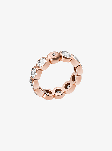 Cubic Zirconia Rose Gold-Tone Circle Ring by Michael Kors