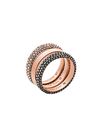 Pavé Rose Gold-Tone Ring Stack by Michael Kors