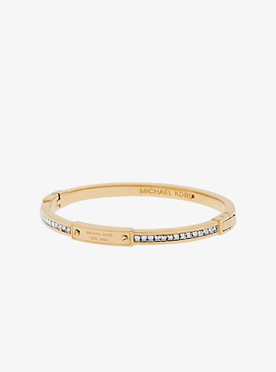 Logo-Armband im Goldton mit Baguette-Fassung und Klappverschluss by Michael Kors