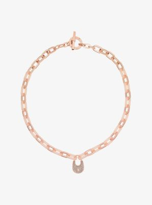 Crystal Padlock Rose Gold-Tone Necklace  by Michael Kors