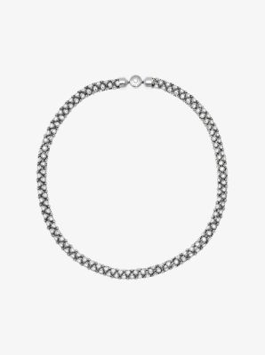 Crystal Silver-Tone Tubular Chain Necklace  by Michael Kors