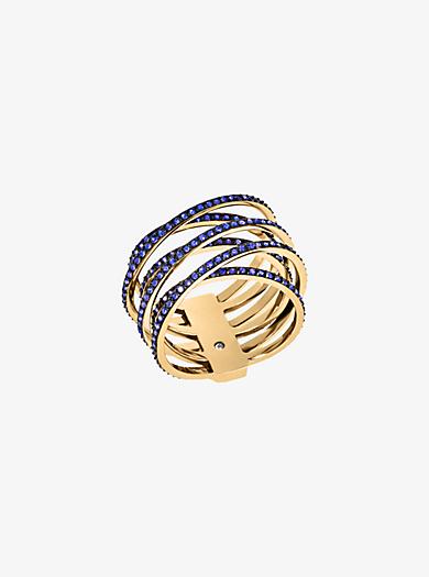 Pavé Gold-Tone Criss-Cross Ring  by Michael Kors