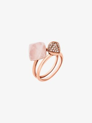 Rose Gold-Tone Rose Quartz Ring Stack by Michael Kors