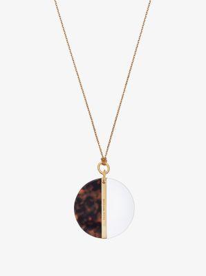 Gold-Tone Color-Block Disc Necklace  by Michael Kors