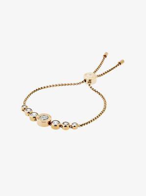 Cubic Zirconia Gold-Tone Slider Bracelet by Michael Kors