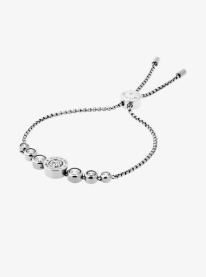 Cubic Zirconia Silver-Tone Slider Bracelet by Michael Kors