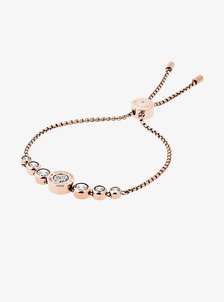 Cubic Zirconia Rose Gold-Tone Slider Bracelet