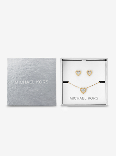 Gold-Tone Heart Necklace And Earrings Set  by Michael Kors