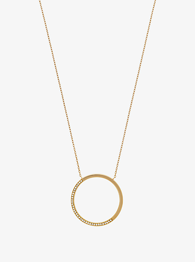 Collar en tono dorado con colgante con incrustaciones by Michael Kors