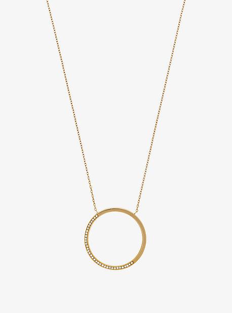 Pave Gold-Tone Pendant Necklace