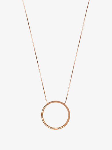 Halskette im Rosé-Goldton mit Anhänger mit Pavé-Fassung by Michael Kors