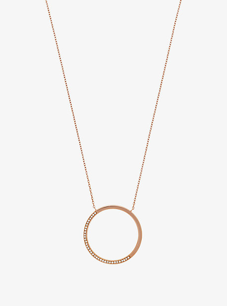 Pave Rose Gold-Tone Pendant Necklace