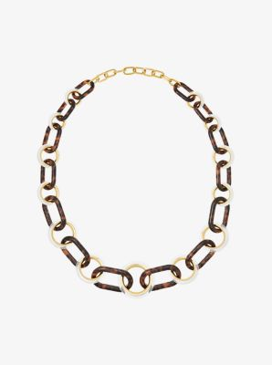 Gold-Tone Tortoise Acetate Link Necklace by Michael Kors