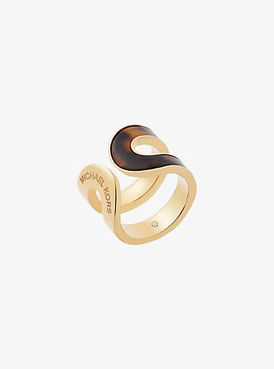 Gold-Tone Tortoise Acetate Ring by Michael Kors