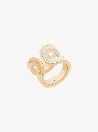 Gold-Tone Alabaster Acetate Ring by Michael Kors