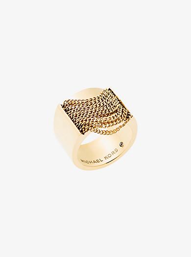 Anello tonalità oro con catene by Michael Kors