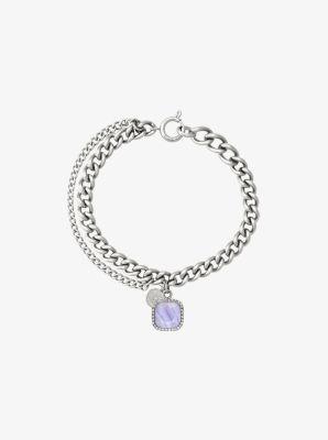 Silver-Tone Blue Lace Agate Stone Charm Bracelet by Michael Kors