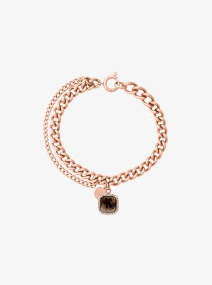 Gold-Tone Smoky Quartz Stone Charm Bracelet by Michael Kors