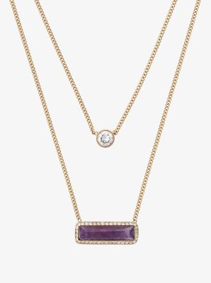 Gold-Tone Amethyst Double-Strand Necklace by Michael Kors